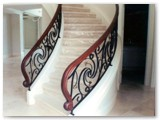 Curved Decorative Stair Rail with Wood Top